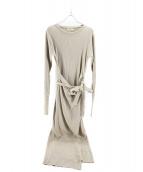 TODAYFUL(トゥデイフル)の古着「ラップラウンドリブドレス」|ベージュ