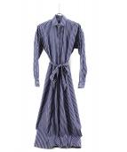 POLO RALPH LAUREN(ポロ・ラルフローレン)の古着「ストライプシャツワンピース」|ホワイト×ブルー