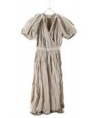 casa fline(カーサフライン)の古着「LINENイレヘム半袖ワンピース」|ベージュ