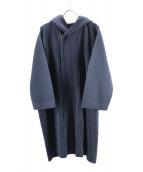 HOMME PLISSE ISSEY MIYAKE(オム プリッセ イッセイ ミヤケ)の古着「プリーツフーデッドコート」|ネイビー