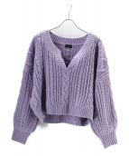NINE(ナイン)の古着「キーネックアラン編みプルオーバー/ニット」|ラベンダー