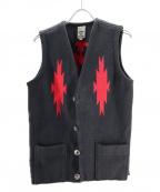 ORTEGAS(オルテガ)の古着「ウールチマヨ柄ベスト」 ブラック