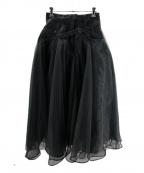 Belle vintage(ベル ビンテージ)の古着「ベルトデニムドッキングボリュームチュールスカート」 ブラック