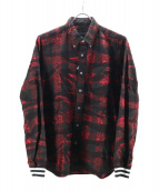 SOPHNET.(ソフネット)の古着「CAMOUFLAGE FLANNEL CHECK RIBED」|レッド