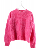 MAISON SPECIAL(メゾンスペシャル)の古着「ファーカシミヤクルーネックニットセーター」|ピンク
