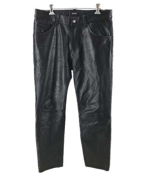 BEAMS(ビームス)BEAMS (ビームス) カウレザーパンツ ブラック サイズ:Lの古着・服飾アイテム