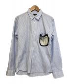 COMME des GARCONS HommePlus(コムデギャルソンオムプリュス)の古着「ベアブリック付ストライプシャツ」|ブルー