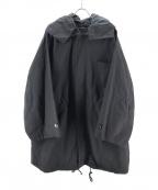 DRESSEDUNDRESSED(ドレスドアンドレスド)の古着「エンブロイダリーオーバーサイズフォローパーカー」 ブラック