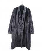 DRESSEDUNDRESSED(ドレスドアンドレスド)の古着「プリントパラシュートオーバーサイズラボコート」 ブラック