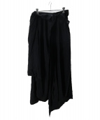 yohji yamamoto+Noir(ヨウジヤマモトプリュスノアール)の古着「レーヨンフリルロングスカート」|ブラック