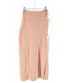 TAN(タン)の古着「ストライプラップスカート」 オレンジ