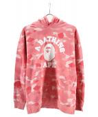 A BATHING APE(アベイシングエイプ)の古着「エイプカモプルオーバーパーカー」|ピンク