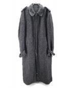 YOHJI YAMAMOTO POUR HOMME(ヤマモトヨウジ)の古着「ツイードステンカラーロングコート」|ブラック