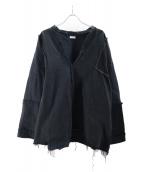OLD PARK(オールドパーク)の古着「ドロップデニムシャツ」|ブラック