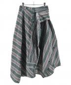 AULA(アウラ)の古着「スリーブラッピングチェックスカート」|グレー×グリーン