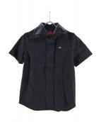 Vivienne Westwood RED LABEL(ヴィヴィアンウエストウッド レッドレーベル)の古着「半袖ロゴ刺繍シャツ」|ブラック
