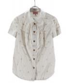 Vivienne Westwood RED LABEL(ヴィヴィアンウエストウッド レッドレーベル)の古着「半袖ストライプシャツ」|ベージュ