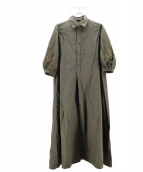 45R(フォーティファイブアール)の古着「オックスフォードのカットワークシャツドレス」|グリーン