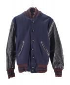 SKOOKUM(スクーカム)の古着「メルトンレザースリーブアワードジャケット」|ネイビー×ブラウン