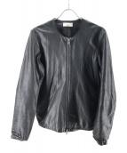 Luis(ルイス)の古着「ノーカラーレザージャケット」 ブラック