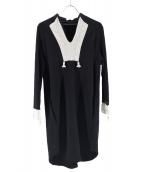 mame(マメ)の古着「カットソー刺繍ワンピース」|ブラック