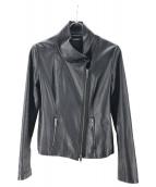 DKNY(ダナキャランニューヨーク)の古着「シープレザーライダースジャケット」|ブラック