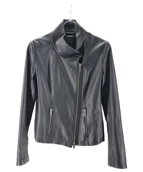 DKNY(ダナキャランニューヨーク)DKNY (ダナキャランニューヨーク) シープレザーライダースジャケット ブラック サイズ:6の古着・服飾アイテム
