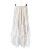 CASA FLINE(カーサフライン)の古着「コットンティアードスカート」|ホワイト
