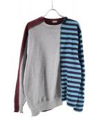 kolor/BEACON(カラービーコン)の古着「ドッキングスウェット」|グレー×ブルー