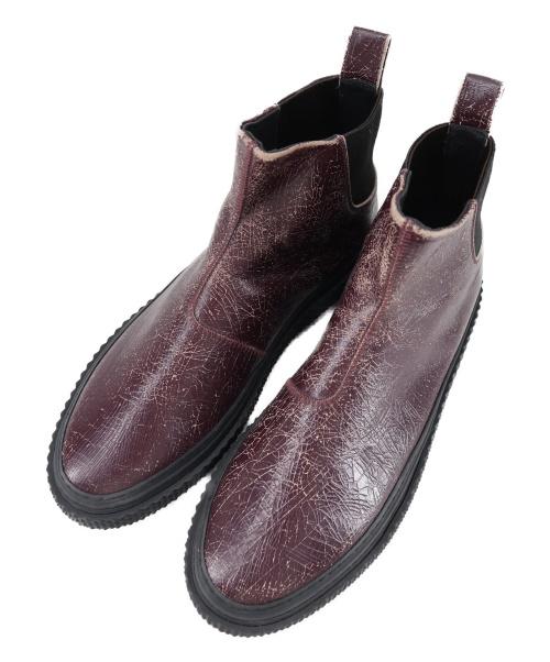 BUTTERO(ブッテロ)BUTTERO (ブッテーロ) クラック加工サイドゴアブーツ バーガンディー サイズ:42 B8520の古着・服飾アイテム