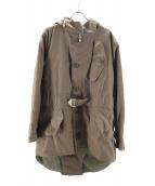 NIGEL CABOURN × Harris Tweed(ナイジェルケーボン×ハリーツイード)の古着「ライナー付モッズコート」|カーキ