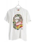 BAPE BY A BATHING APE × × MARVEL(ベイプ バイ ア ベイシング エイプ × マーベル)の古着「マーベルコミックエイプヘッドTシャツ」|ホワイト