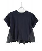 CLANE(クラネ)の古着「バックフリルロールアップスリーブTシャツ」|ブラック