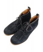 bukht(ブフト)の古着「ワーカーフリンジブーツ」|ブラック