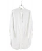 JIL SANDER NAVY(ジルサンダーネイビー)の古着「ノーカラーロングシャツ」|ホワイト
