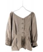 iNtimite(アンティミテ)の古着「リネンオフショルダートップス」 ブラウン
