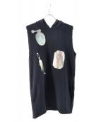 MM6(エムエムシックス)の古着「ノースリーブフードスウェット」|ブラック