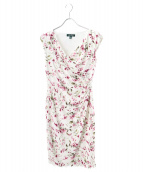 LAUREN RALPH LAUREN(ローレン ラルフローレン)の古着「ドレープジャージードレス」|ホワイト×ピンク