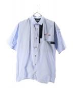 kolor/BEACON(カラービーコン)の古着「スナップボタン半袖シャツ」 ブルー
