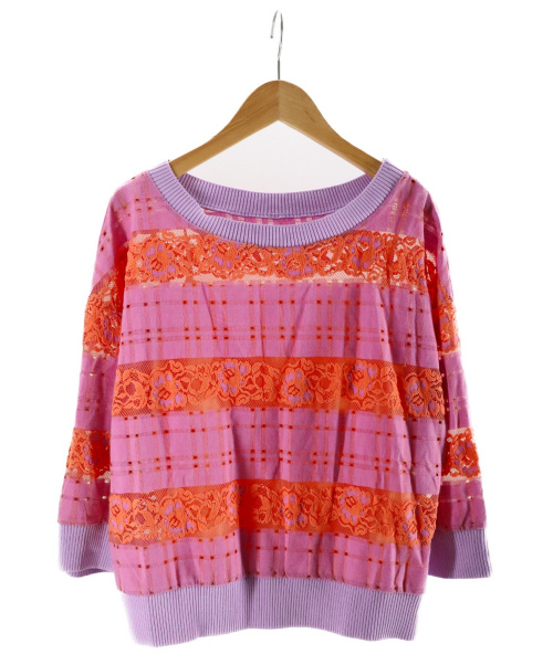 GRACE CONTINENTAL(グレースコンチネンタル)GRACE CONTINENTAL ((グレースコンチネンタル) チェックフラワーレーストップ パープル サイズ:36の古着・服飾アイテム