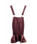 Lautashi(ラウタシー)の古着「ベルベットマーメイドスカート」|ボルドー