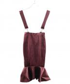 Lautashi(ラウタシー)の古着「ベルベットマーメイドスカート」 ボルドー