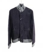 ETONNE(エトネ)の古着「ゴートスウェードレザージャケット」|ネイビー