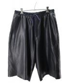 Juun.J(ジュン・ジー)の古着「ラムレザーワイドハーフパンツ」|ブラック