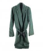 THE Sakaki(ザ サカキ)の古着「リネン混ダブルオーバーコート」|グリーン