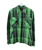 Hysteric Glamour(ヒステリックグラマー)の古着「ワッペンチェックCPOシャツ」 グリーン
