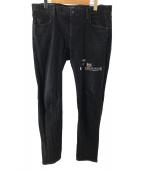 glamb×jeanmichelbasquiat(グラム×ジャン=ミシェル・バスキア)の古着「バスキアデニムパンツ」|ブラック