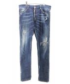 DSQUARED2(ディースクエアード)の古着「ペイントクラッシュデニムパンツ」|インディゴ