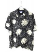 CDG JUNYA WATANABE MAN(コムデギャルソンジュンヤワタナベマン)の古着「キュプラ総柄プリントオープンカラーシャツ」|ブラック