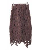 FRAY ID(フレイアイディー)の古着「レースタイトスカート」 ブラウン